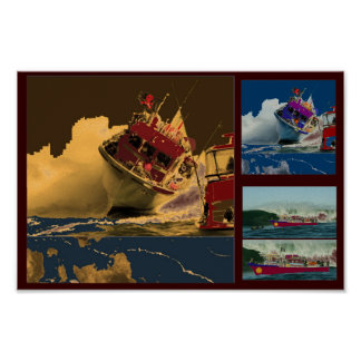 Boat Crossing High Tides Posters