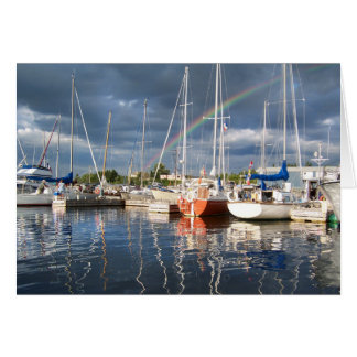 Boat Dock at Marina Photograph Card