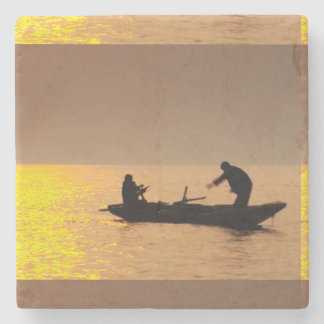 Boat Evening Sunset Sailors Fishers Fishing Stone Coaster