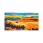 Boat in lake.Sunset landscape Canvas Prints