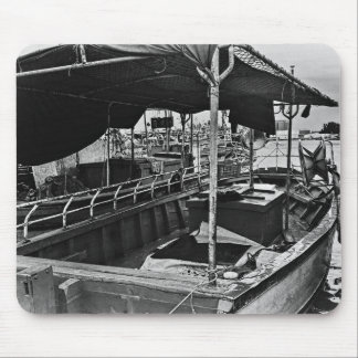 Boat in port black and white mouse pad