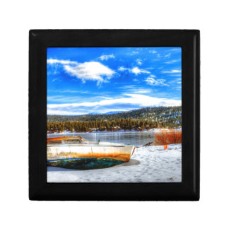 Boat in Snow at Big Bear Lake, California Gift Box