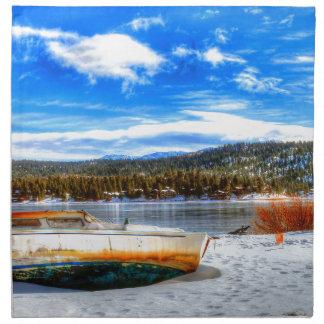 Boat in Snow at Big Bear Lake, California Napkin