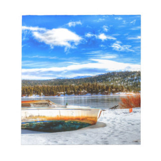 Boat in Snow at Big Bear Lake, California Notepad