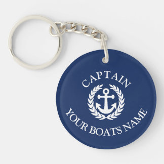 Boat name and captains nautical anchor Double-Sided round acrylic key ring