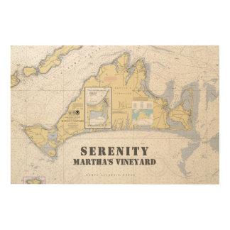 Boat Name Nautical Chart Martha's Vineyard Wood Print
