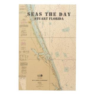 Boat Name Nautical Chart Stuart Florida Wood Wall Decor
