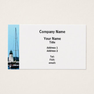 Boat Near Lighthouse Bristol RI - Platinum Finish