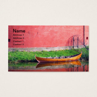 Boat-near-red-round-building BOAT CANOE WATER TRAN Business Card