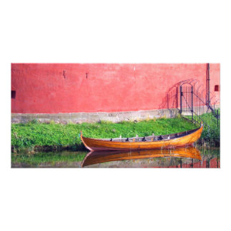 Boat-near-red-round-building BOAT CANOE WATER TRAN Personalised Photo Card
