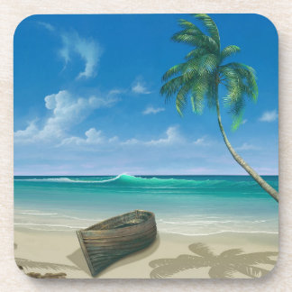 Boat on Island Tropical Paradise Blue Sand Beach Coaster