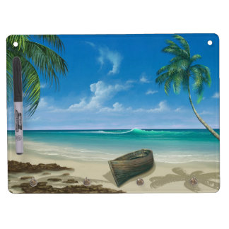 Boat on Island Tropical Paradise Blue Sand Beach Dry Erase Board With Key Ring Holder