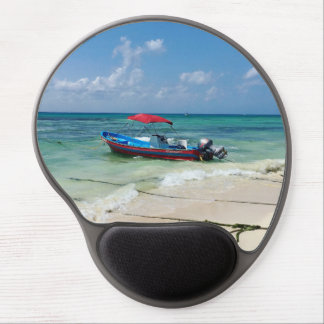 Boat on Playa Del Carmen, Mexico Gel Mouse Pad
