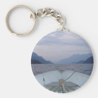 Boat on the Lake Basic Round Button Key Ring