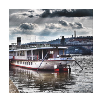 Boat on the river in Prague Canvas Print