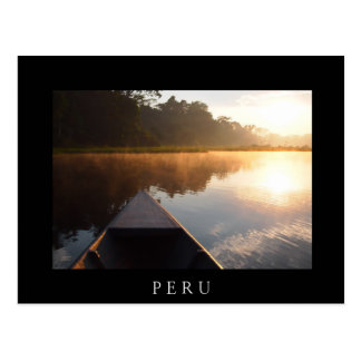 Boat on the river in the Amazon black postcard