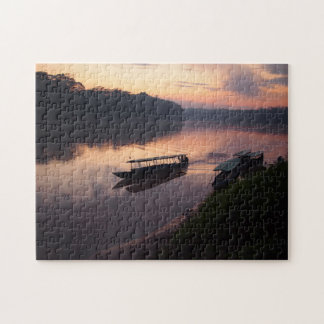 Boat on the river in the Amazon rainforest jigsaw Jigsaw Puzzle