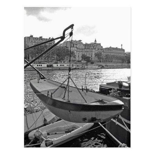 Boat on the Seine River Paris Postcards
