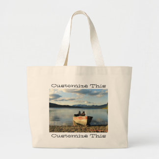 Boat on the Shore; Customizable Large Tote Bag