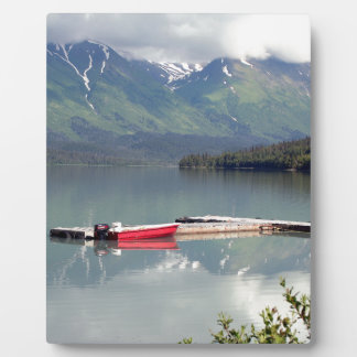 Boat on Trail Lake, Alaska Photo Plaque