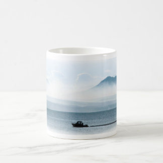 Boat on Yellowstone Lake Coffee Mug