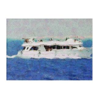 Boat painting acrylic print