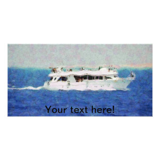 Boat painting customized photo card
