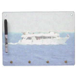 Boat painting dry erase board with key ring holder