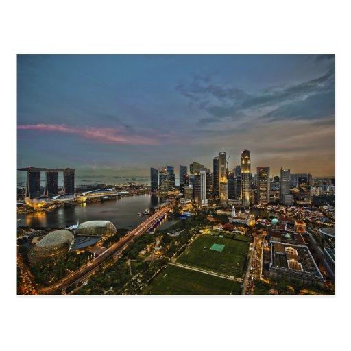 Boat Quay Singapore City Skyline Panorama Post Card