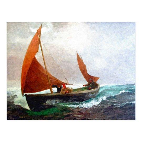 Boat reaches the beach postcard