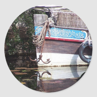 boat reflection classic round sticker