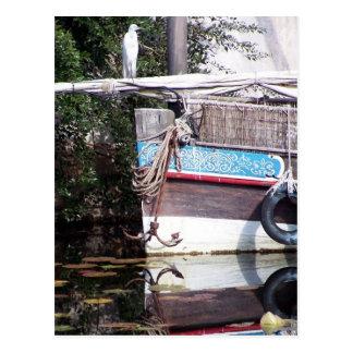 boat reflection postcard