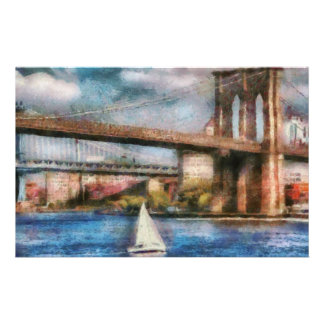 Boat - Sailing under the Brooklyn Bridge Customized Stationery