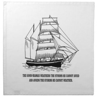 boat saying on the seas napkin