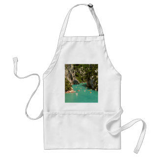 Boat Themed, People On Peddal Boats Floating Thoug Standard Apron