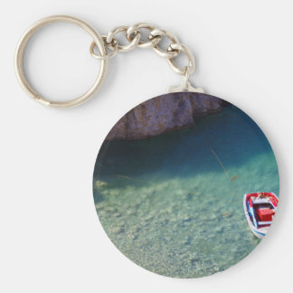 Boat Themed, Small Floating Boat On The Crystal Cl Basic Round Button Key Ring