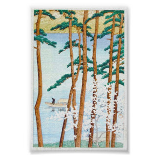 Boat Through Trees Japanese Woodblock Art Ukiyo-E Poster