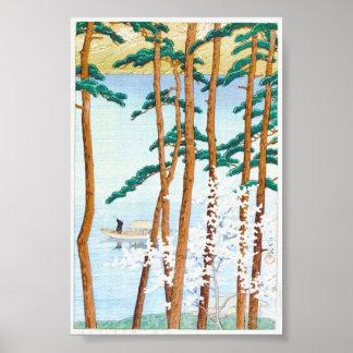 Boat Through Trees Japanese Woodblock Art Ukiyo-E Poster
