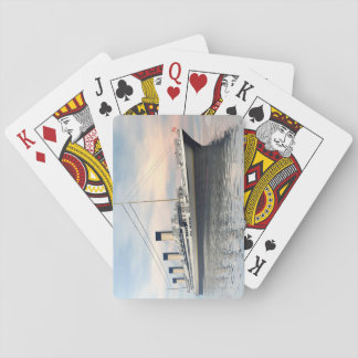 boat_titanic_close_water_waves_sunset_pink_standar playing cards