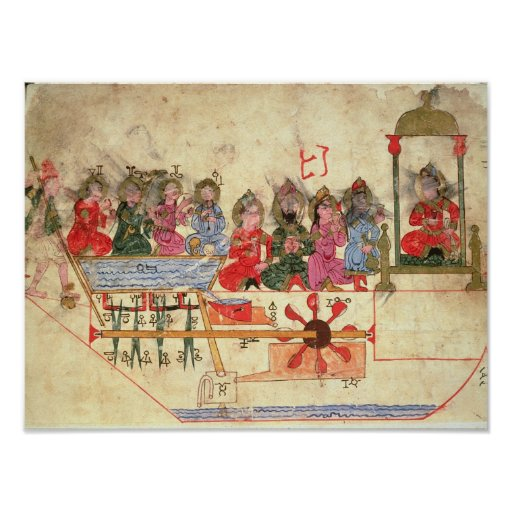 Boat with Automata, illustration Print