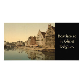 Boathouse in Ghent, Belgium Customised Photo Card