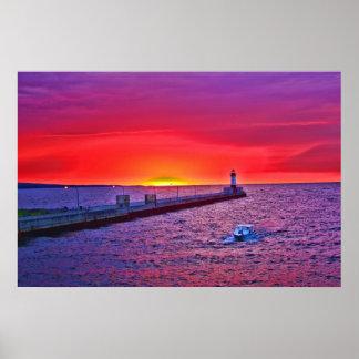 Boating at Sunrise Poster