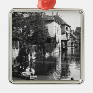 Boating on the river Gera at Erfurt Silver-Colored Square Decoration