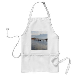 Boatman on small wooden boat aprons