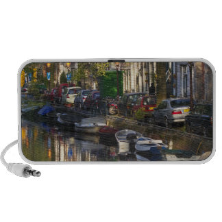 Boats and buildings along the canal belt, portable speaker