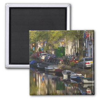 Boats and buildings along the canal belt, square magnet