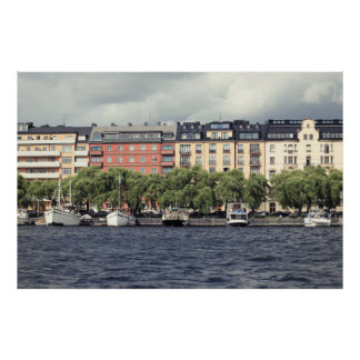 Boats and houses in Stockholm Poster