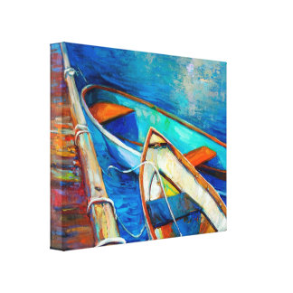 Boats and pier canvas print