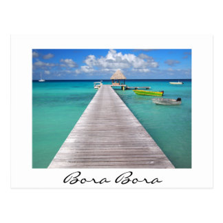 Boats at a jetty in Bora Bora white postcard
