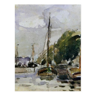 Boats at Dock by Camille Pissarro Postcard
